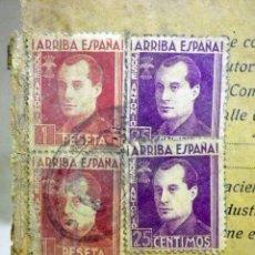 Sellos: PAGINA LIBRO DE VENTAS, CON SELLOS. FALANGE. JOSE ANTONIO, MOVIL, Y 1,5 PESETAS FOURNIER, 1939. Lote 40690181