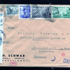 Sellos: CARTA DE BARCELONA A ALEMANIA 1942, CENSURA MILITAR ALEMANA AGUILA CON CRUZ ESVASTICA . Lote 40740583