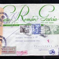 Sellos: CARTA CASA ROMAN GARCIA 1942 DE MADRID A ALEMANIA, CENSURA GUBERNATIVA Y MILITAR ALEMANA. Lote 40740758