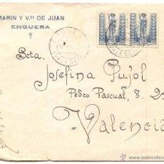 Sellos: ENGUERA (VALENCIA): SOBRE COMERCIAL CIRCULADO DESDE ENGUERA. Lote 40776205