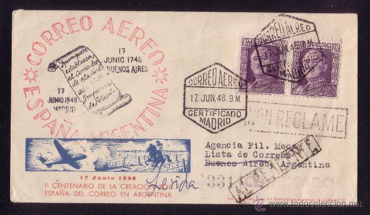 ESPAÑA.(CAT.1001).1948.SOBRE CERTIF. DE CORREO AÉREO DE MADRID A ARGENTINA. REEXPEDIDA. MAGNÍFICA.RR (Sellos - España - Estado Español - De 1.936 a 1.949 - Cartas)