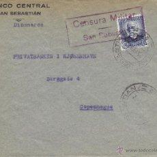 Sellos: CARTA - SOBRE COMERCIAL BANCO CENTRAL CENSURA MILITAR SAN SEBASTIAN 1937 . MATASELLOS SAN SEBATIAN. Lote 41227690