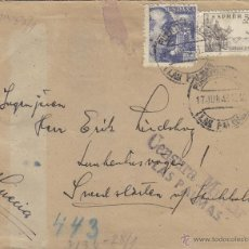Sellos: CARTA DOBLE CENSURA MILITAR LAS PALMAS / MATASELLOS 1943 REVERSO RODILLO FRANCO . Lote 41228330