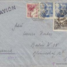 Sellos: CARTA DOBLE CENSURA GUBERNATIVA BARCELONA Y 1941 POR AVIÓN MAT CORREO AÉREO VER DORSO. Lote 41275671