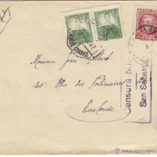 Sellos: CARTA - CENSURA MILITAR SAN SEBASTIAN -1937 MAT AMBULANTE NORTE CORREO DEST FRANCIA . Lote 41281921