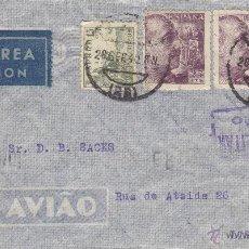 Sellos: CARTA - CENSURA MILITAR LOGROÑO - 1940 DEST LISBOA CON LLEGADA RODILLO PHILIPS LUZ RADIO POR AVIÓN . Lote 41288285