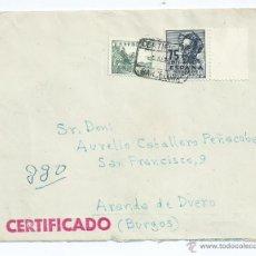 Sellos: AÑO 1948, CERTIFICADO DE BARCELONA A ARANDA DE DUERO CON LLEGADA Nº 1013,918. Lote 42419251