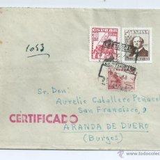 Sellos: AÑO 1948, CERTIFICADO DE BARCELONA A ARANDA DE DUERO, CON LLEGADA, 1037. Lote 42419307
