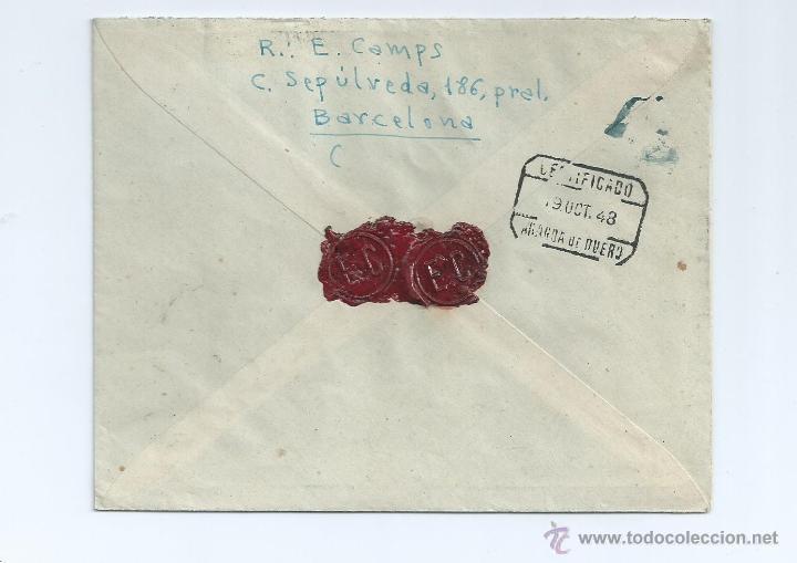 Sellos: AÑO 1948, CERTIFICADO DE BARCELONA A ARANDA DE DUERO, CON LLEGADA, 1037 - Foto 2 - 42419307