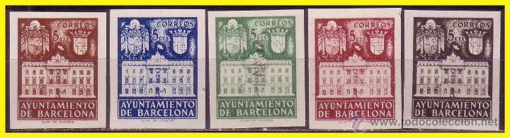 BARCELONA, 1942 FACHADA DEL AYUNTAMIENTO, EDIFIL Nº 33S A 37S (*) (Sellos - España - Estado Español - De 1.936 a 1.949 - Nuevos)