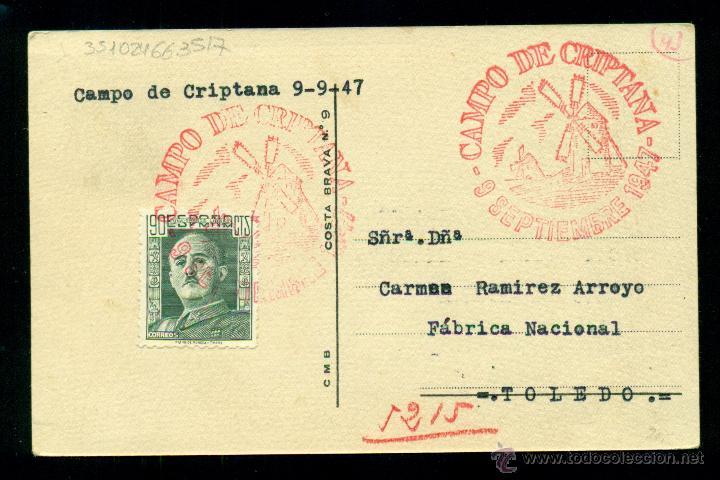 *** PRECIOSA TARJETA POSTAL CON SELLO DE FRANCO 1947 MATASELLOS CAMPOS DE CRIPTANA *** (Sellos - España - Estado Español - De 1.936 a 1.949 - Cartas)