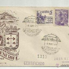 Sellos: CERTIFICADO 1949 EXPO FILATELICA STA CRUZ DE TENERIFE A BARCELONA CON MATASELLLO DE LLEGADA. Lote 44679795