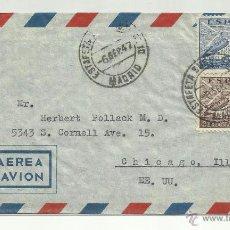 Sellos: CIRCULADA 1947 DE MADRID A CHICAGO ILLINOIS USA. Lote 44687380