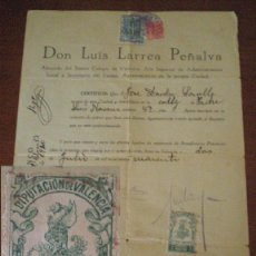 Sellos: 1940 VALENCIA. DOCUMENTO AYUNTAMIENTO FISCAL LOCAL IMPUESTO MUNICIPAL 25 CTS, SELLO DIPUTACION 1 PTS. Lote 44706570
