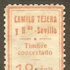 Sellos: FISCALES - TIMBRE CONCERTADO. CAMILO TEJERA Y HNA - SEVILLA. Lote 44997348