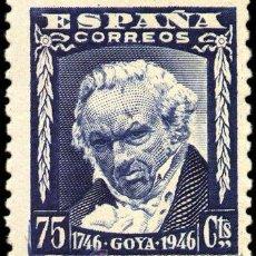 Sellos: ESPAÑA GOYA PLANCHA DE 100 SELLOS NUEVOS 1946 VER DETALLE. Lote 43790592