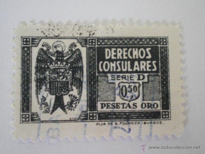 SELLO DERECHOS CONSULARES 0,50 PESETAS COLOR PIZARRA SERIE D 1940. FISCAL (Sellos - España - Estado Español - De 1.936 a 1.949 - Usados)