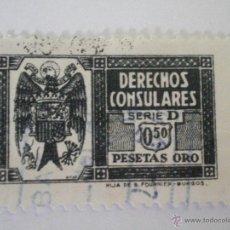 Sellos: SELLO DERECHOS CONSULARES 0,50 PESETAS COLOR PIZARRA SERIE D 1940. FISCAL. Lote 45659247