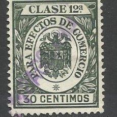 Sellos: CLASE 12 PARA EFECTOS DE COMERCIO 30 CTS. Lote 45789720