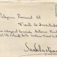 Sellos: MADRID - SAN SEBASTIAN. 10 DE AGOSTO DE 1944. DELEGACIÓN PROVINCIAL DEL FRENTE DE JUVENTUDES.. Lote 46285814