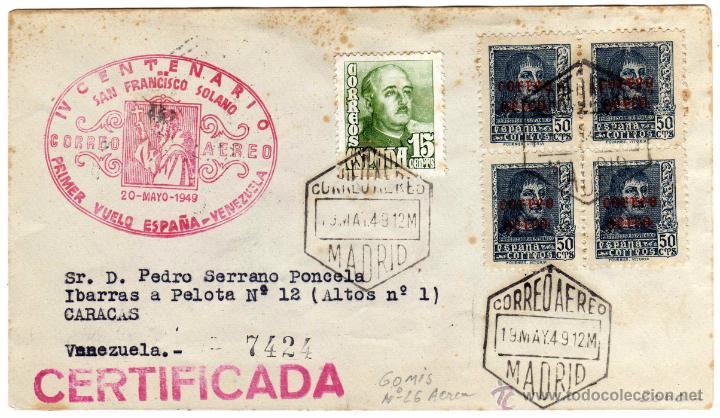 MATASELLO IV CENTENARIO SAN FRANCISCO SOLANO - PRIMER VUELO ESPAÑA - VENEZUELA - 20-MAYO-1949 (Sellos - España - Estado Español - De 1.936 a 1.949 - Cartas)