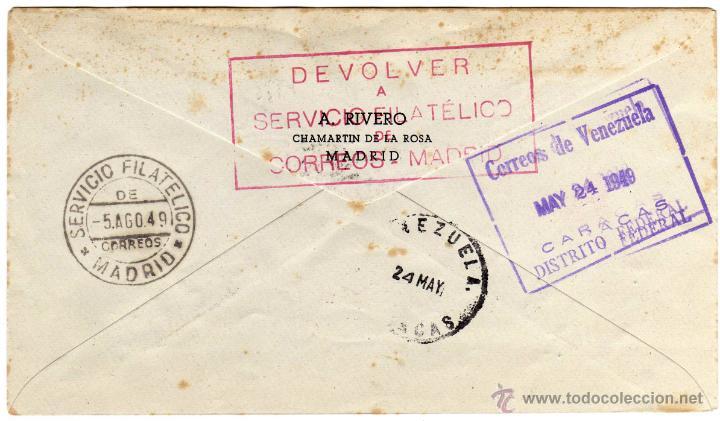 Sellos: MATASELLO IV CENTENARIO SAN FRANCISCO SOLANO - PRIMER VUELO ESPAÑA - VENEZUELA - 20-MAYO-1949 - Foto 2 - 46381570