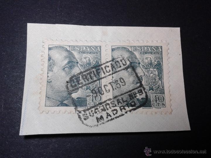 EDIFIL 470. SANCHEZ TODA. PAREJA CON MATASELLOS CERTIFICADO DE MADRID. EN FRAGMENTO. BELLO. (Sellos - España - Estado Español - De 1.936 a 1.949 - Usados)