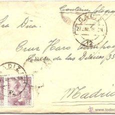 Sellos: CÁDIZ - MADRID. 27 DE ENERO DE 1948. SOBRE, DE CABO DE BUENA ESPERANZA Y CARTA.. Lote 46642382