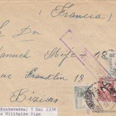 Sellos: CARTA - CENSURA MILITAR VIGO 1938 DESTINO BEZIERS / FRANCIA CON LLEGADA .. Lote 46985034