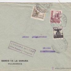 Sellos: CARTA MEMB BANCO CORUÑA - CENSURA MILITAR VILLAGARCIA - VIVA ESPAÑA ( PONTEVEDRA ) 1938 VIÑETA . Lote 46985197