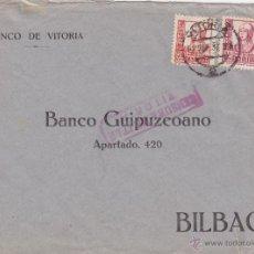 Sellos: CARTA MEMB BANCO VITORIA - CENSURA MILITAR VITORIA 1937 DEST BANCO GUIPUZCOANO , BILBAO. Lote 46985377