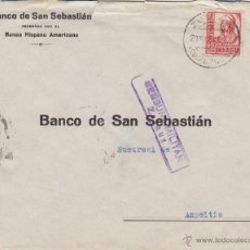 Sellos: CARTA CENSURA MILITAR ZARAUZ ( GUIPUZCOA ) DESTINO AZPEITIA . REVERSO VIÑETA CRUZADA CONTRA FRIO. Lote 46985782