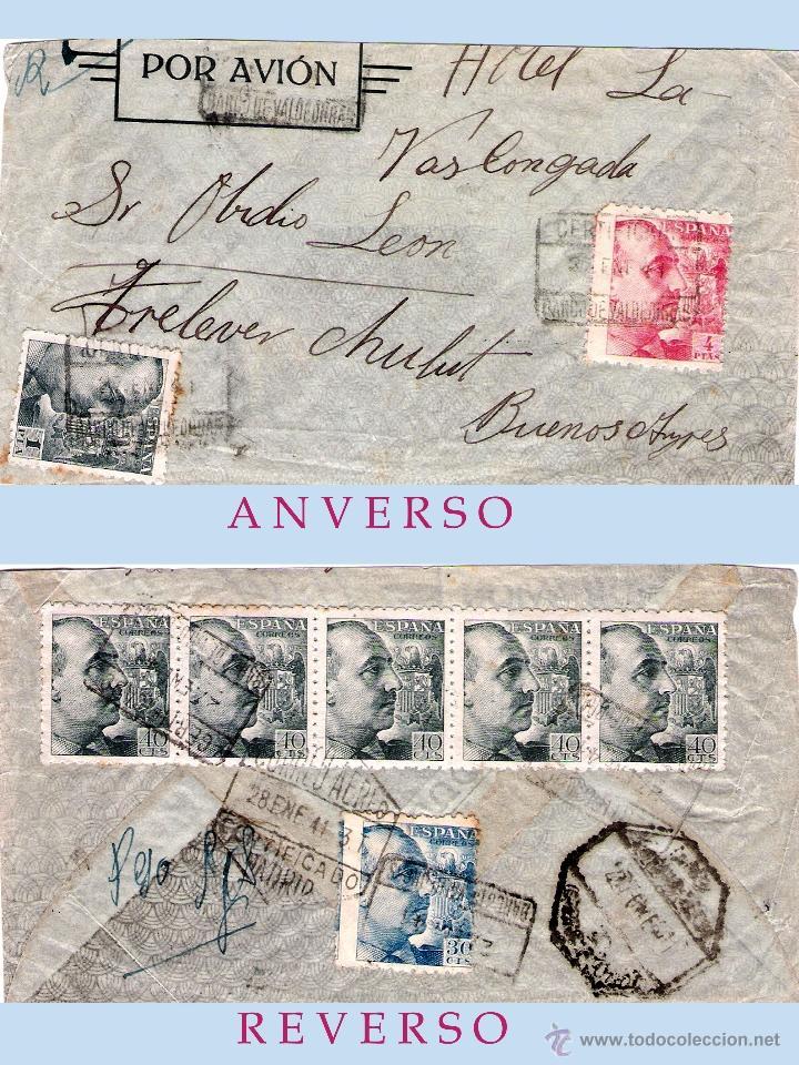 1944.-CERTIFICADO MULTICOLOR CON 8 SELLOS, CIRCULADO DE BARCO DE VALDEORRAS A BUENOS AIRES.POR AVION (Sellos - España - Estado Español - De 1.936 a 1.949 - Cartas)