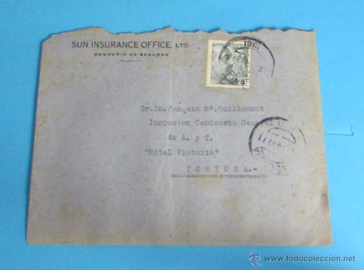 Sellos: SOBRE CIRCULADO DE VALENCIA A TORTOSA. 1945 - Foto 2 - 47121110