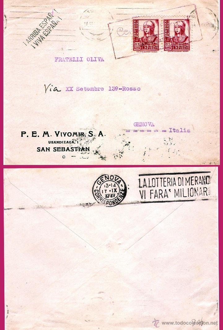 1937.-CARTA PATRIÍOTICA CON PAREJA DEL 25 CTS. DE ISABEL Y CENSURA EN ROJO DE SAN SEBASTIAN A GENOVA (Sellos - España - Estado Español - De 1.936 a 1.949 - Cartas)
