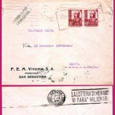 Sellos: 1937.-CARTA PATRIÍOTICA CON PAREJA DEL 25 CTS. DE ISABEL Y CENSURA EN ROJO DE SAN SEBASTIAN A GENOVA. Lote 47121399