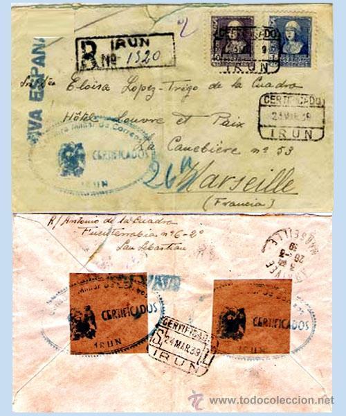 1939.-CARTA CERTIFICADA CON PAR DE SELLOS DE ISABEL Y CENSURA MILITAR EN AZUL DE IRUN A MARSELLA. (Sellos - España - Estado Español - De 1.936 a 1.949 - Cartas)