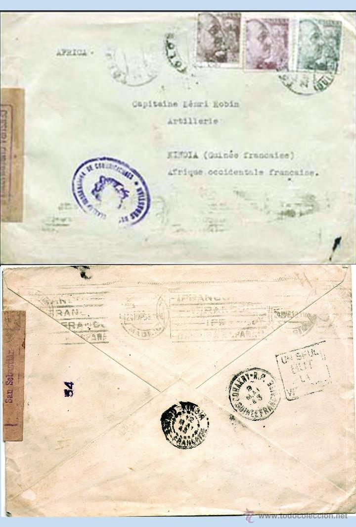 1943.-CARTA TRICOLOR CON 3 SELLOS DE FRANCO Y CENSURA EN LILA DE TOLOSA A KINDIA.(GUINEA FRANCESA) (Sellos - España - Estado Español - De 1.936 a 1.949 - Cartas)