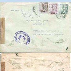 Sellos: 1943.-CARTA TRICOLOR CON 3 SELLOS DE FRANCO Y CENSURA EN LILA DE TOLOSA A KINDIA.(GUINEA FRANCESA). Lote 127252248