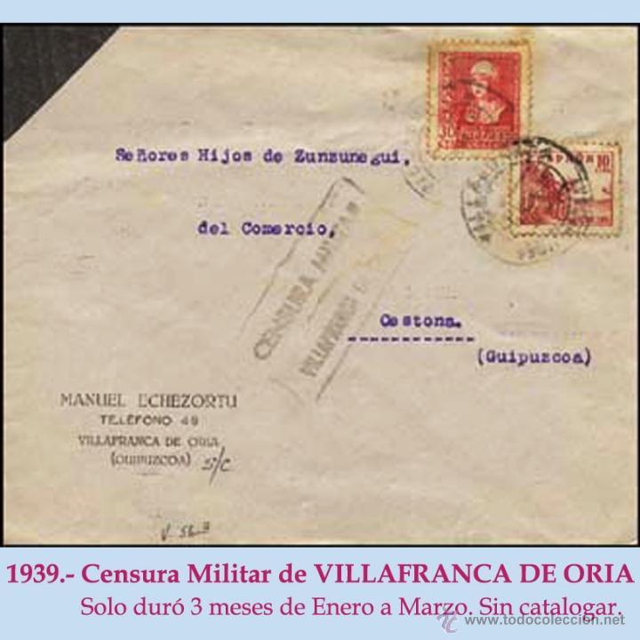 1939.-CARTA DE LUTO CON 2 SELLOS DE VILLAFRANCA DE ORIA A CESTONA. CENSURA EN NEGRO SIN CATALOGAR. (Sellos - España - Estado Español - De 1.936 a 1.949 - Cartas)