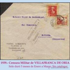 Sellos: 1939.-CARTA DE LUTO CON 2 SELLOS DE VILLAFRANCA DE ORIA A CESTONA. CENSURA EN NEGRO SIN CATALOGAR.. Lote 47122649