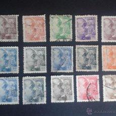 Sellos: 1940 - 1945. SERIE BÁSICA. GENERAL FRANCO. USADOS. BONITOS.. Lote 47489461