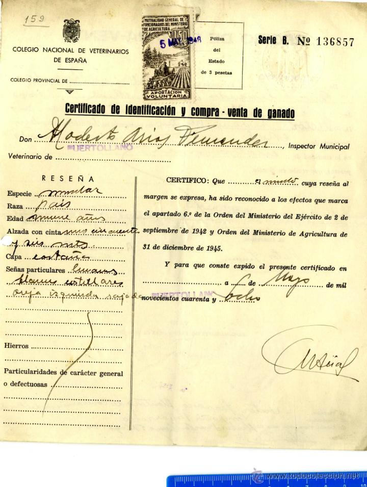 CIUDAD REAL PUERTOLLANO CERTIFICADO COMPRA-VENTA GANADO AÑO 1948 (Sellos - España - Estado Español - De 1.936 a 1.949 - Cartas)
