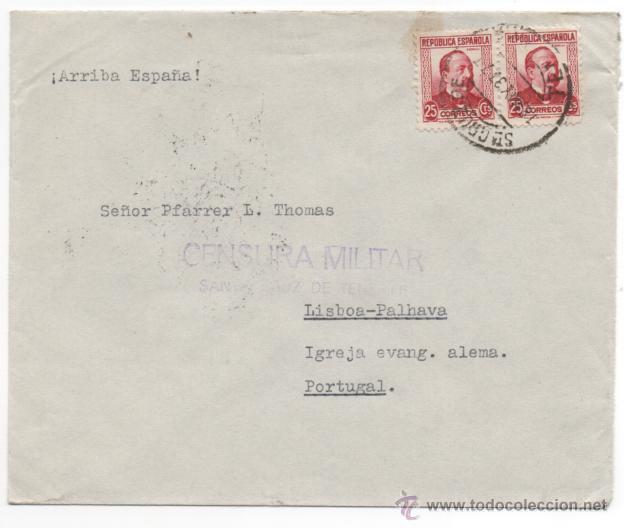 CARTA CENSURA MILITAR SANTA CRUZ DE TENERIFE. (Sellos - España - Estado Español - De 1.936 a 1.949 - Cartas)