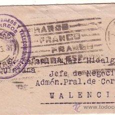 Sellos: F10-36-CARTA TARJETA VISITA. FRANQUICIA DIRECCIÓN CORREOS MADRID VALENCIA 1943. CONTIENE TARJETA. Lote 48668378