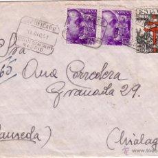 Sellos: F10-37-CERTIFICADO TUBERCULOSOS MADRID ALAMEDA(MALAGA) 1941. FRANCO INTENSO COLOR. Lote 48668388