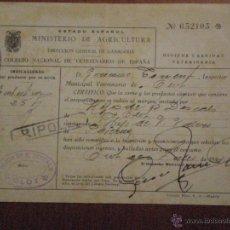 Sellos: 1947 OLOT (GERONA) SELLO FISCAL COLEGIO VETERINARIO 1 PTA HIGIENE Y SANIDAD GANADO. HIJOS B. DESCALS. Lote 49297771