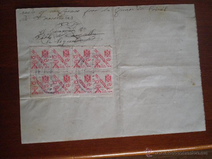 1944 TORTELLA (GERONA). 8 SELLOS FISCALES 10 CTS PRO HUERFANOS GUARDIA CIVIL. CERTIFICADO GANADO (Sellos - España - Estado Español - De 1.936 a 1.949 - Usados)