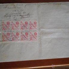 Sellos: 1944 TORTELLA (GERONA). 8 SELLOS FISCALES 10 CTS PRO HUERFANOS GUARDIA CIVIL. CERTIFICADO GANADO. Lote 49298483