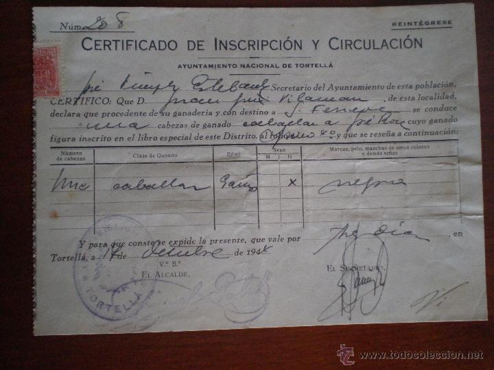 Sellos: 1944 TORTELLA (GERONA). 8 SELLOS FISCALES 10 CTS PRO HUERFANOS GUARDIA CIVIL. CERTIFICADO GANADO - Foto 3 - 49298483
